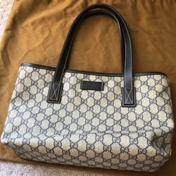 Authentic Gucci Tote Small With Blue Leather Straps  Thumbnail