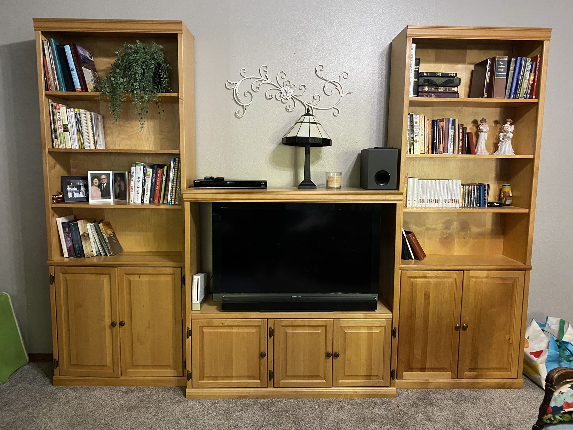 Entertainment Center And Book Shelves And Flat Screen Tv Included!!