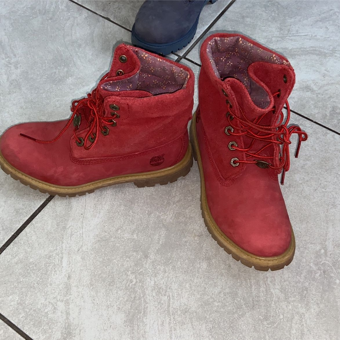 Red Fold Down Timberland Boots