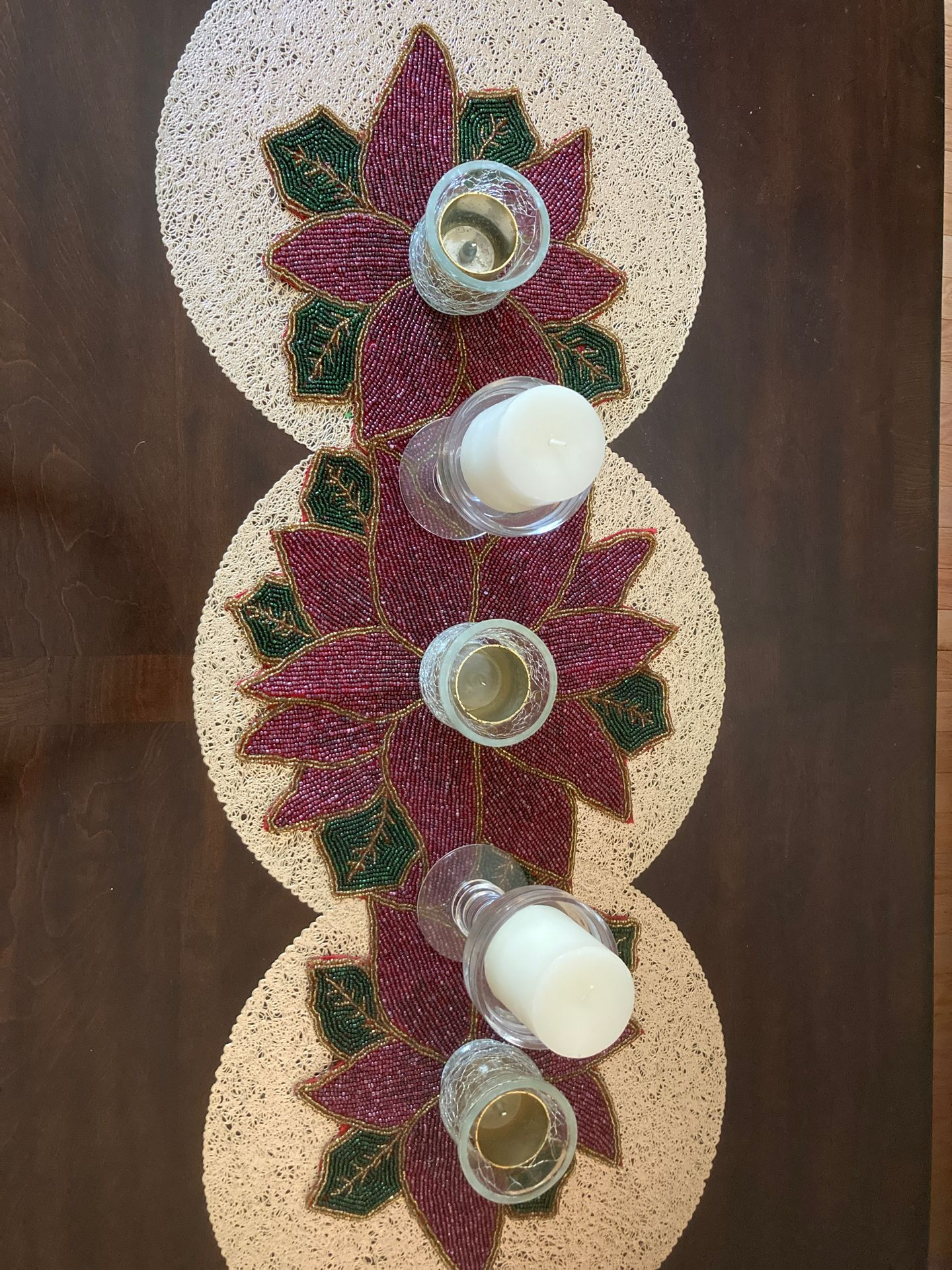 Beaded green and red table runner