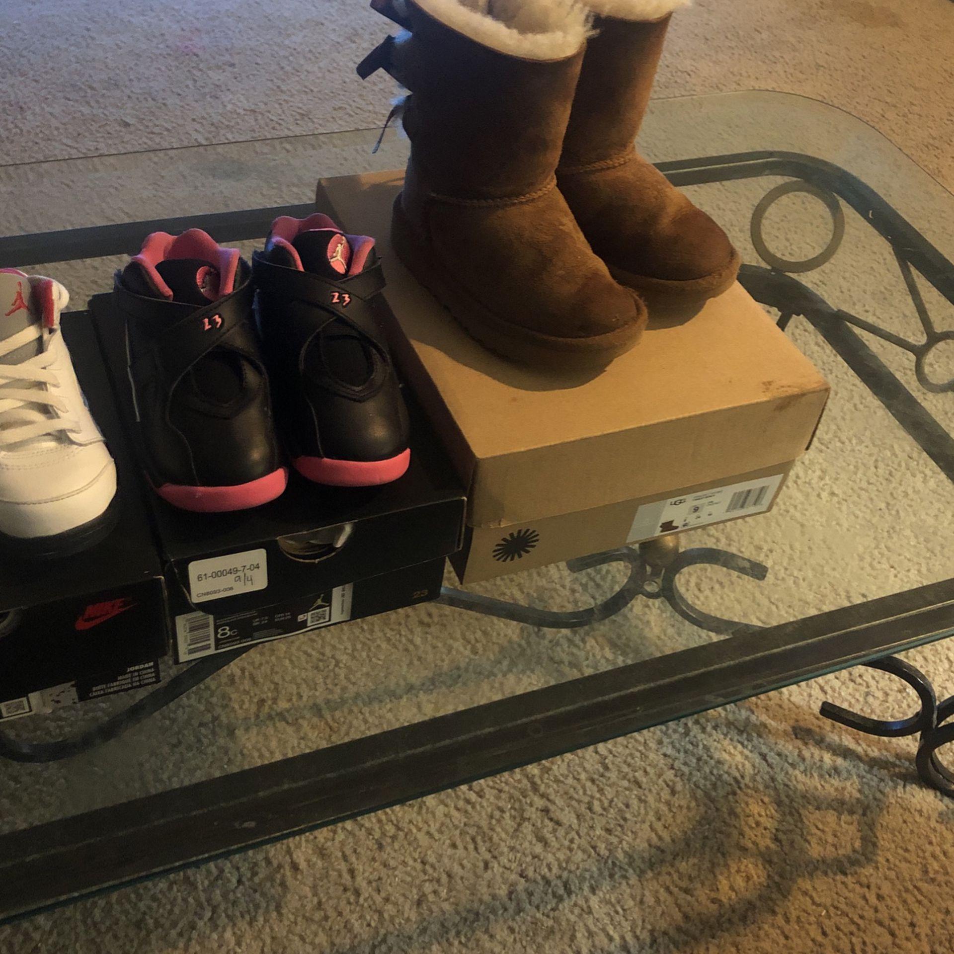 kids jordans in ugh boots