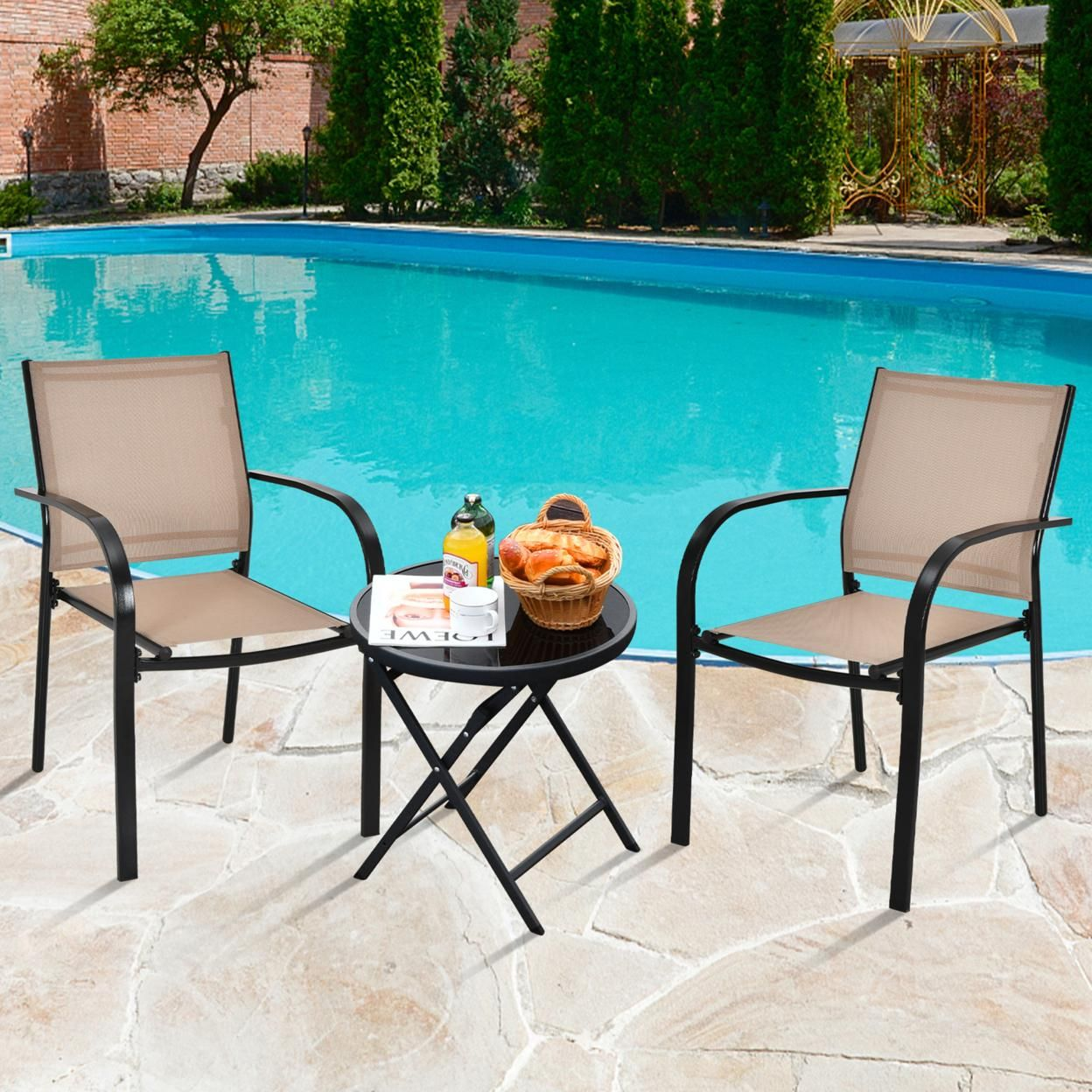 Gymax 4PCS Stackable Patio Dining Chair w/ Steel Frame & Quick-drying Fabric