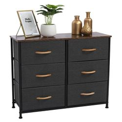 3-Tier Wide Dresser, Storage Unit with 6 Easy Pull Fabric Drawers, Metal Frame, and Wooden Tabletop, for Closet, Thumbnail