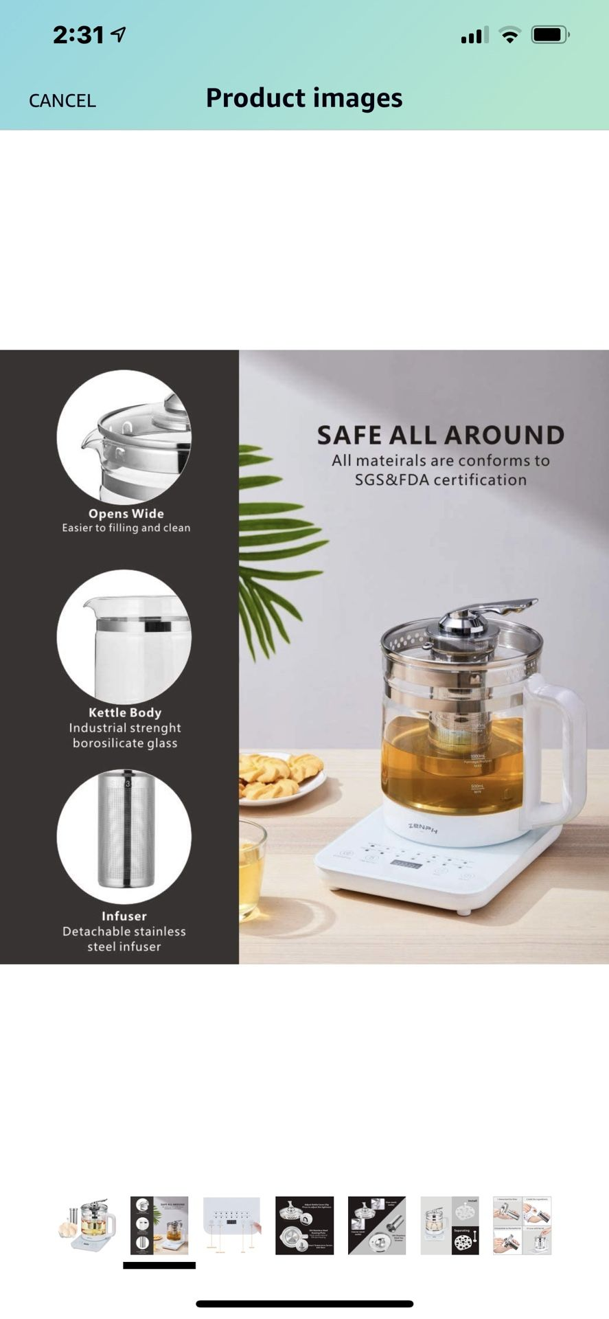 Electric Kettle, Zenph 1.5L Glass Stainless Steel Tea Kettle, Multifunction Tea Coffee Maker, Smart Touch Panel, 18 Smart Menu Hot Water Boiler with T