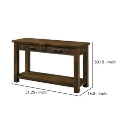 Saltoro Sherpi 51 Inches Sofa Table with 2 Drawers and Open Shelf, Rustic Brown Thumbnail