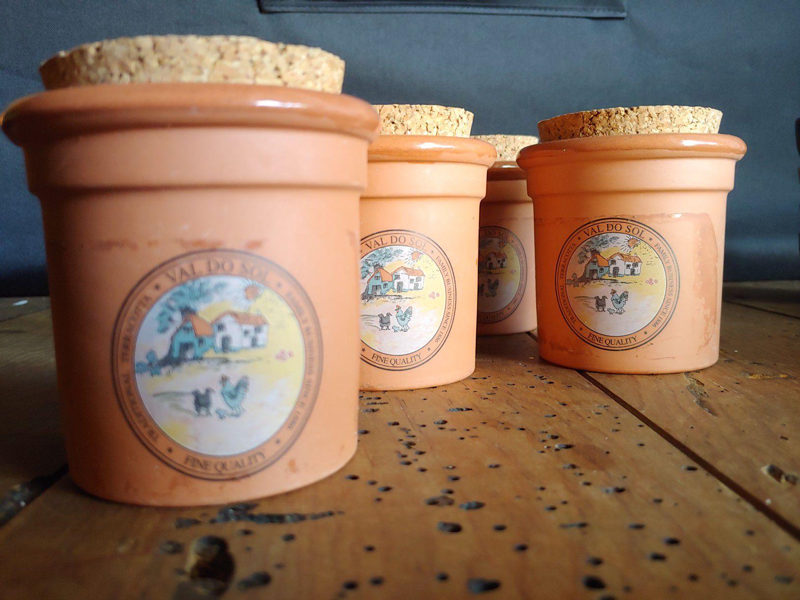 Val Do Sol Fine Quality Terracotta Crock Spice Jar w/cork lids