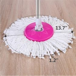 360° Spin Mop with Bucket & Dual Mop Heads Pink Thumbnail