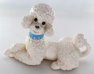 Vintage Retro Atlantic Mold White Ceramic Poodle Figure Shabby Chic Decor Thumbnail