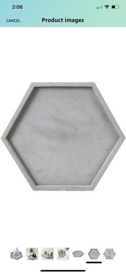 MyGift Modern Gray Concrete Hexagonal Decorative Display Bathroom Vanity Tray Thumbnail