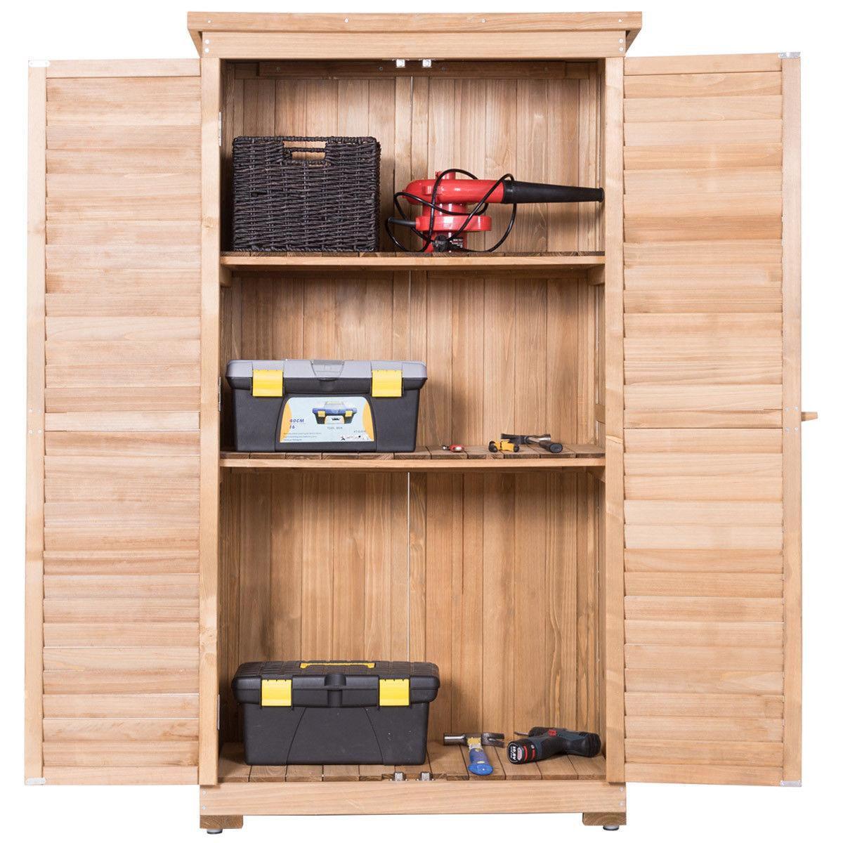 Gymax Outdoor 63'' Tall Wooden Garden Storage Shed Fir Wood Shutter Design Lockers