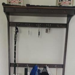 Entryway Coatrack/Key Rack With attached Shoe Stand And Storage Thumbnail