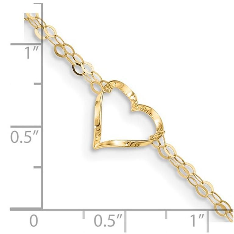 14K Yellow Gold Adjustable Double Strand Heart Anklet (9 Inches)