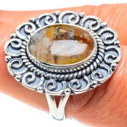 Plume Agate Ring Size 8.5 (925 Sterling Silver) RING58651 Thumbnail