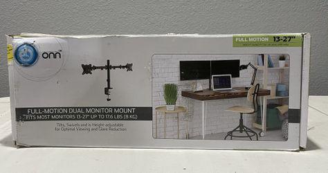"ONN Full Motion Dual Monitor Arm, For Monitors 13"" to 27"" Thumbnail"