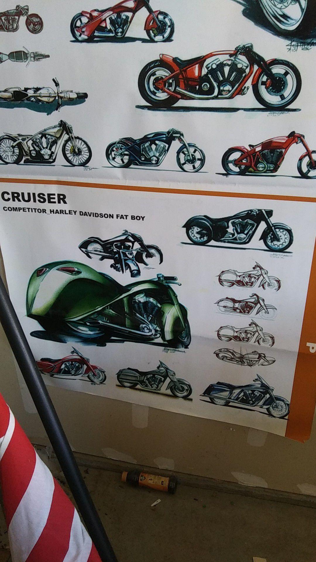 Harley-Davidson, Indian. Motorcycle poster