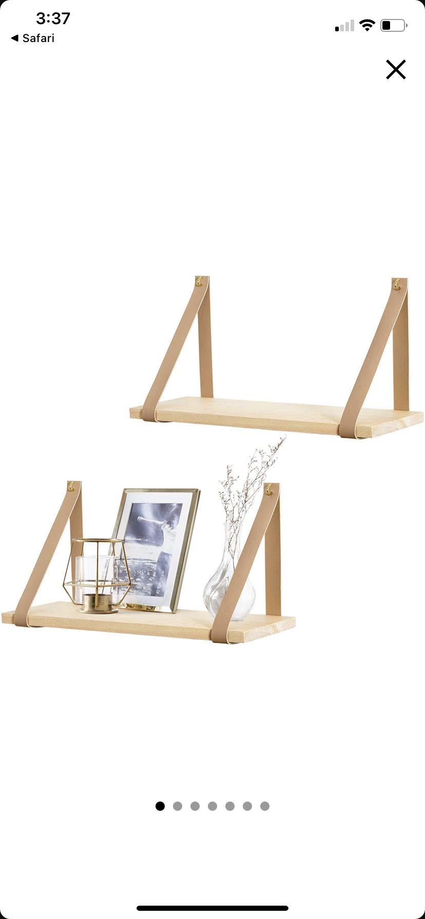Mkono Hanging Shelf Wall Wood Floating Storage Shelves Leather Strap Swing Organizer