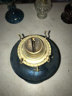 Large teal vintage hurricane lamp Thumbnail