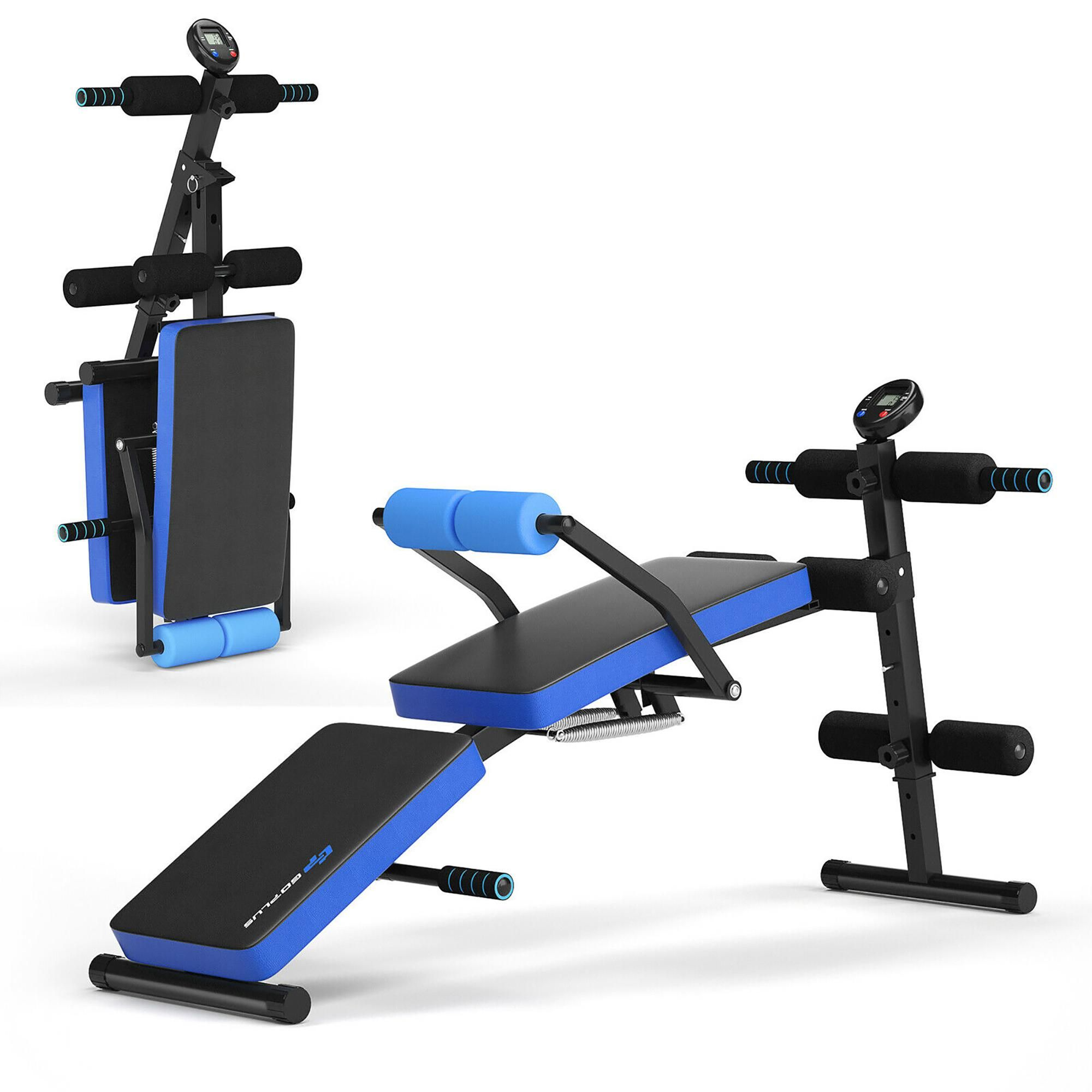Goplus Multi-Functional Foldable Weight Bench Adjustable Sit-up Board w/ Monitor Blue