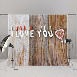 7x5ft Wood Backdrops Valentine's Day Background Photo Booth Props Thumbnail