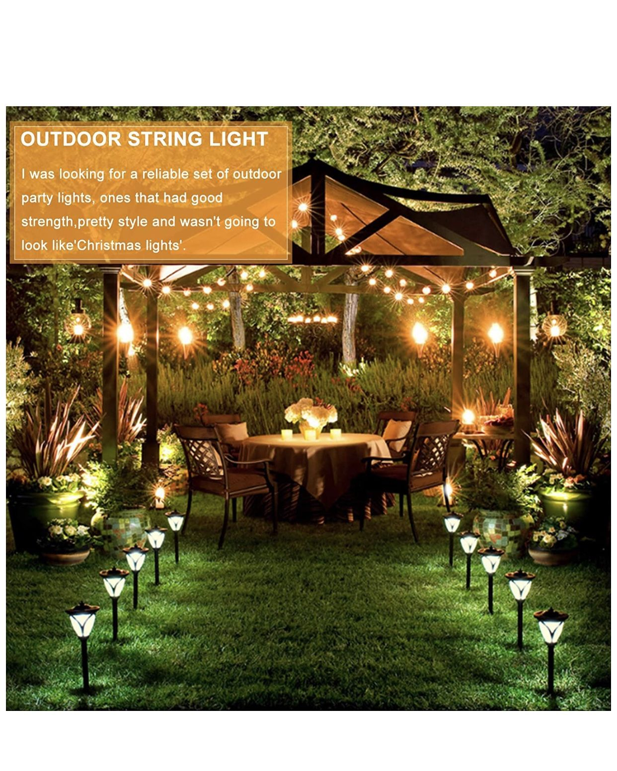 String Lights 25FT with 27 Edison Bulbs with 2 Spare - Outdoor Patio Lights String Led Waterproof UL Listed