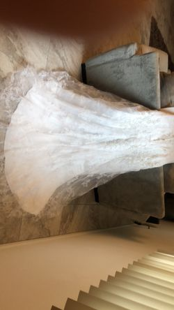 Wedding dress With Beading, Lace and a Train.  Thumbnail