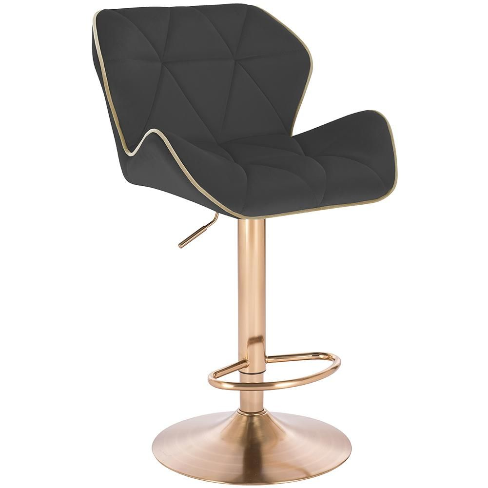 Modern Home Luxe Spyder Contemporary Adjustable Barstool/Bar Chair with 360° Rotation (Gold Base, Black/Gold Piping)