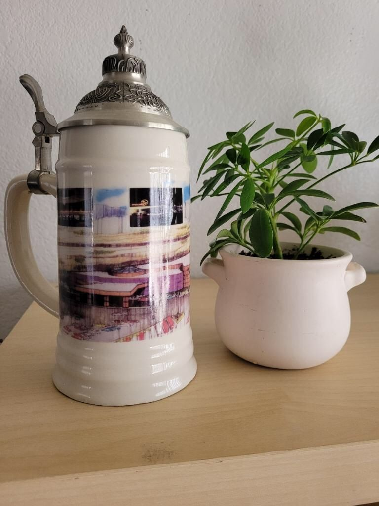 BRAND NEW...German Beer Stein With Pewter Lid. Packaged In Storage For Staging Furniature.