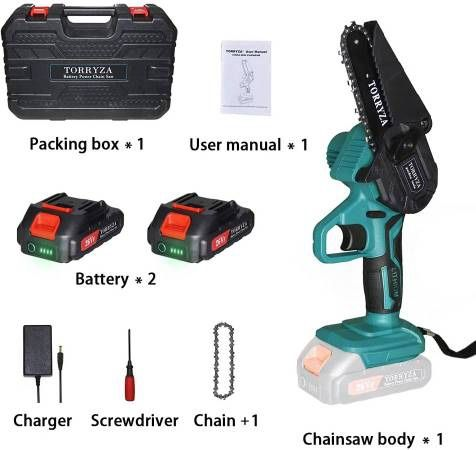 Mini Chainsaw Cordless Electric Chainsaw with 2 Upgraded Battery 2 Chain, 4-Inch Battery Chainsaw Mini Saw for Garden Tree Pruning Br