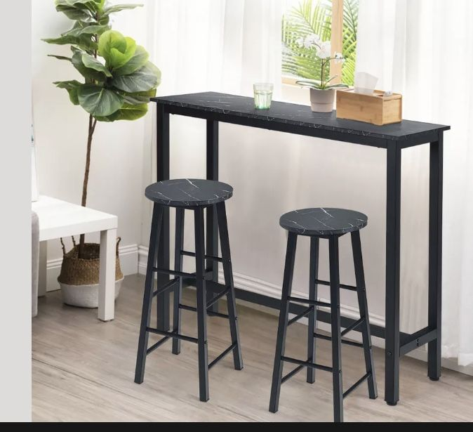 Set of 2 Pub Dining Height Bar Stool Bistro Table Chairs Faux Marble Top Black
