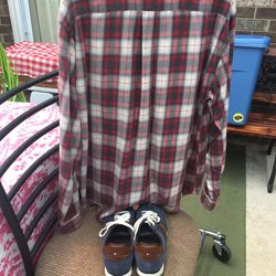 Men's Tommy Hilfiger XXL Plaid Long Sleeve and Size 11 Shoes Thumbnail