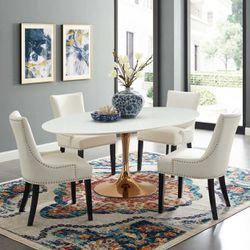 "Lippa 78"" Oval Dining Table (3259-ROS-WHI) Thumbnail"