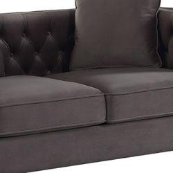 Velvet Upholstered Button Tufted Loveseat with Two Pillows, Dark Gray Thumbnail