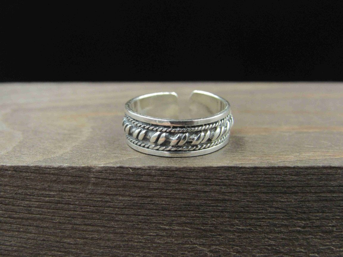 Size 2.5 Sterling Silver Braid Design Toe Band Ring Vintage Statement Engagement Wedding Promise Anniversary Bridal Cocktail Friendship