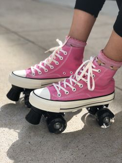 Brand New Roller Skates In Women Size 6,7,8,9,10 & 11 Converse Style Quad Skates Out Door Sports Thumbnail