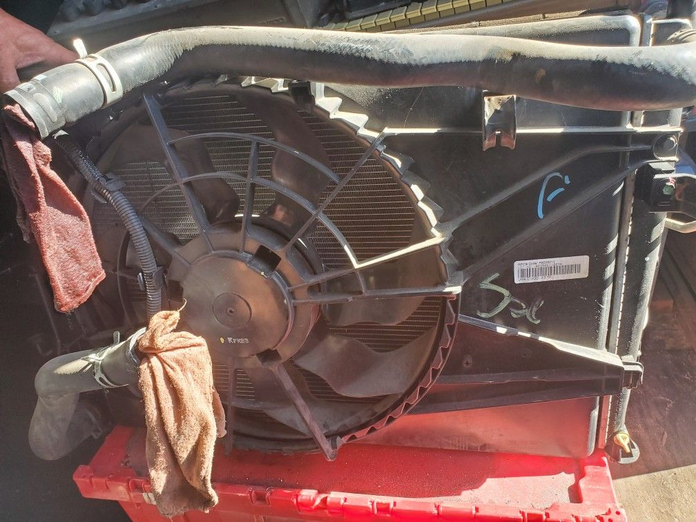 Radiator and ac condenser and fan