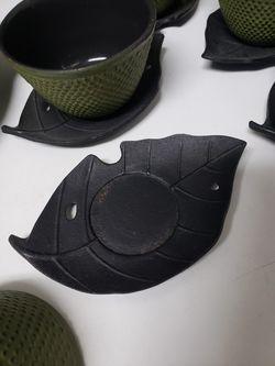11pc iron green hobnail tea set Thumbnail