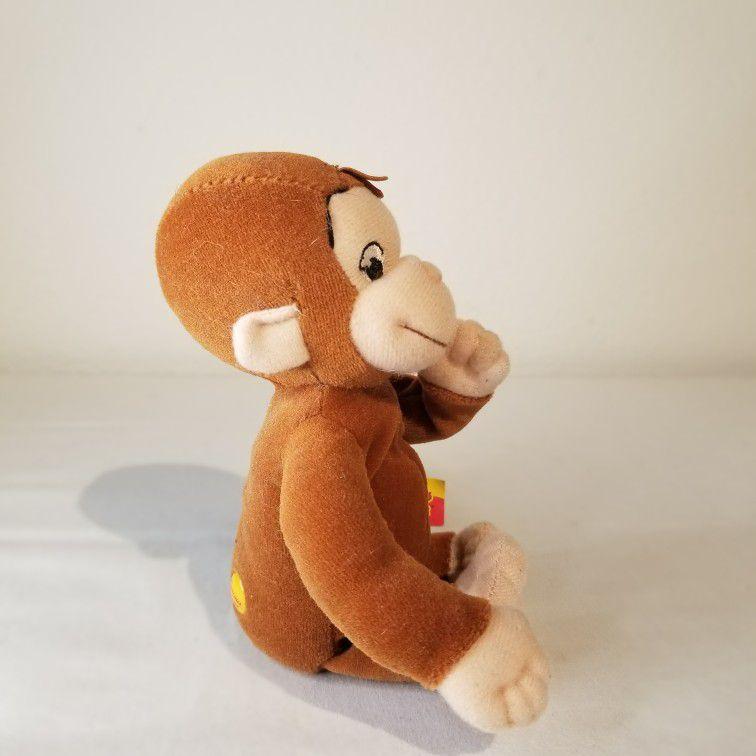 "2005 Marvel Plush Beanie 8"" Curious George Movie Classic Monkey Sewn Eyes"