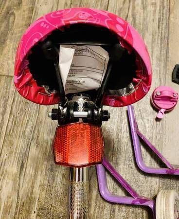 Set of Dora The Explorer Kids Girls Bike Items: Seat With Metal Mount, Break Light, Bike Horn, Training Wheels And Accessories