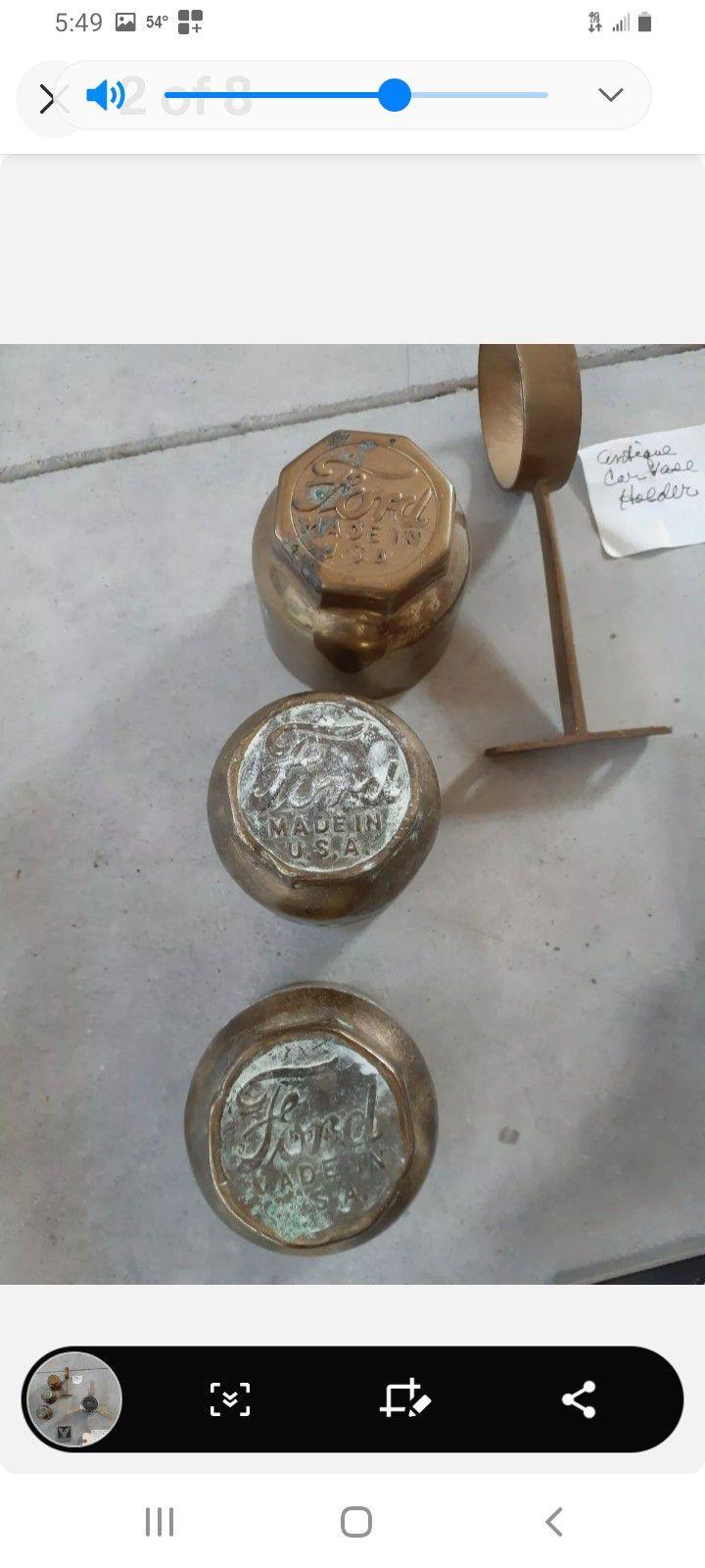 3 Ford Model T Brass Hub Caps.