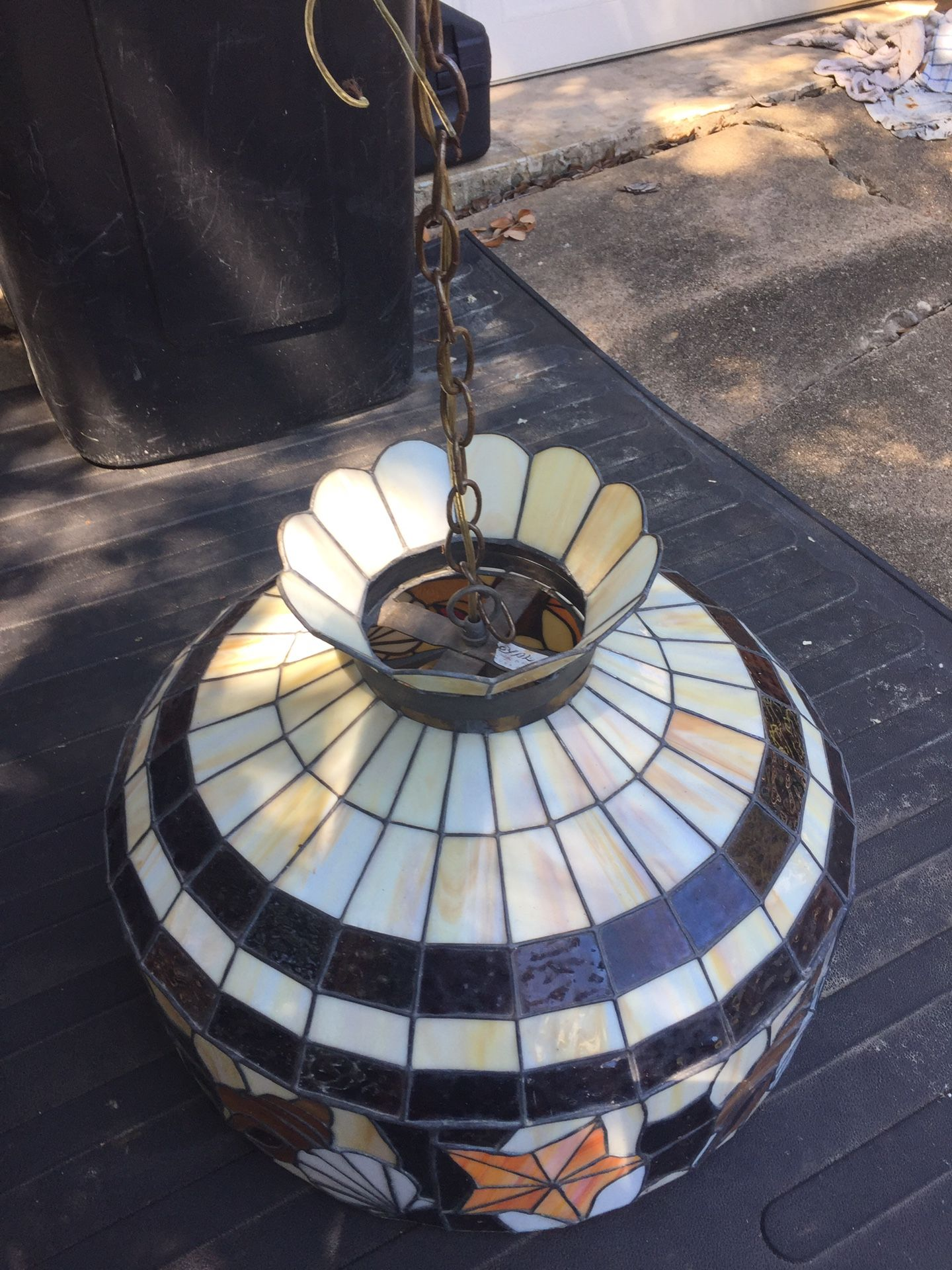 Vintage Royal Stained Glass hanging light game room poker table nautical