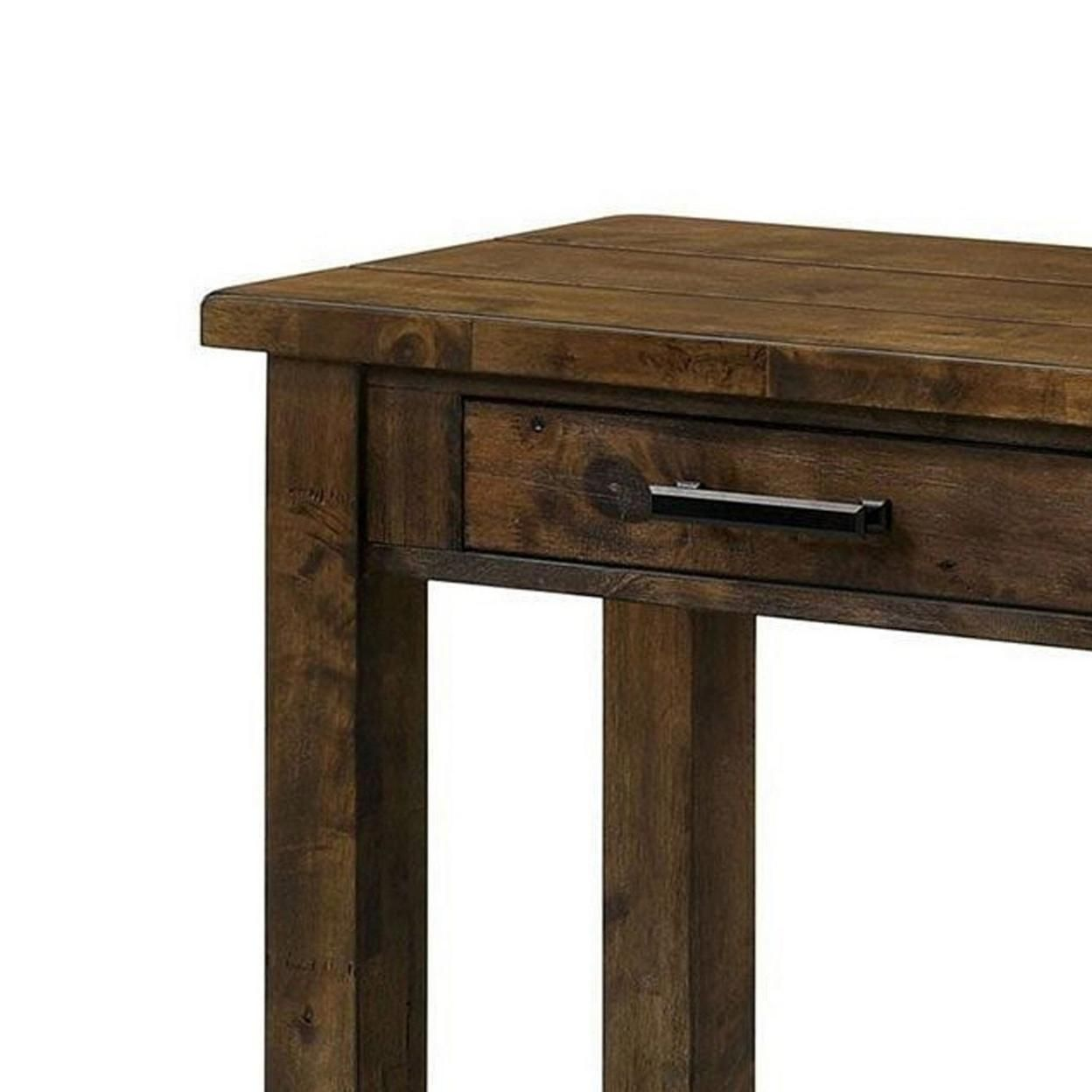 Saltoro Sherpi 51 Inches Sofa Table with 2 Drawers and Open Shelf, Rustic Brown