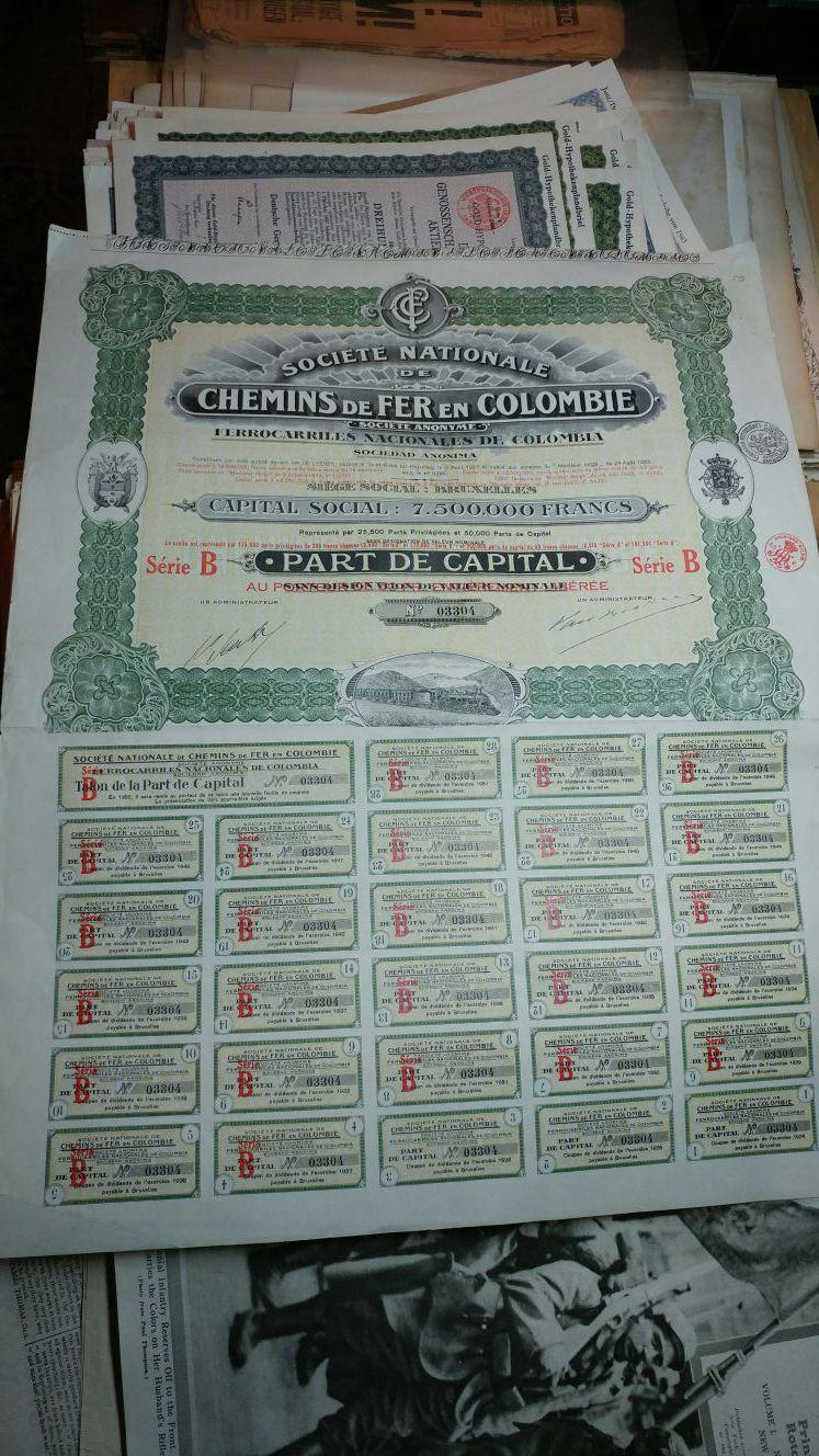 1927 Colombia Railroad bond share certificate