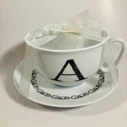 """Grace And Teaware Letter """"A"""" Cup and Saucer Set White Thumbnail"""