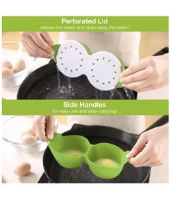 Egg Poacher, Cozzine Egg Cooker Silicone Egg Poaching Cups with Ring Standers, Thumbnail