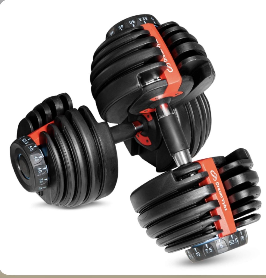 DREAM VYBZ (Single Adjustable Dumbbell 5 to 52.5 lbs  Weights  Barbell  Exercise & Fitness Dumbbells  Weight Bench  Workout Equipment  dumbellsweights