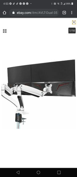 """AVLT Dual 35"""" Monitor Desk Stand - Mount Two 33 lbs Computer Screens Thumbnail"""