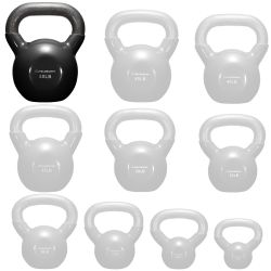 Philosophy Gym Vinyl Coated Cast Iron Kettlebell Weight 50 lbs - Black Thumbnail