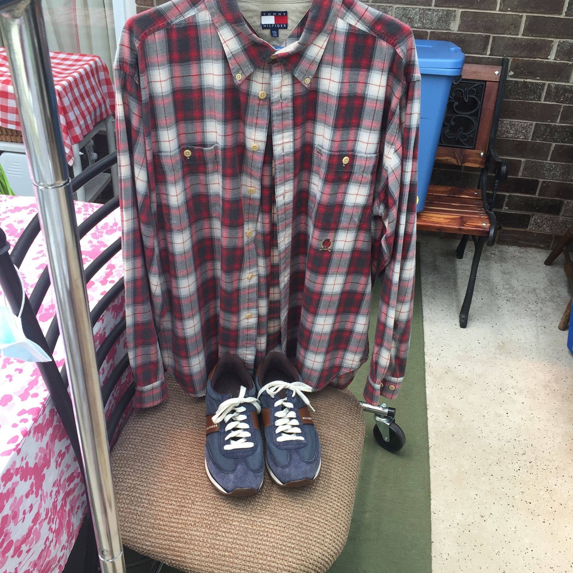 Men's Tommy Hilfiger XXL Plaid Long Sleeve and Size 11 Shoes