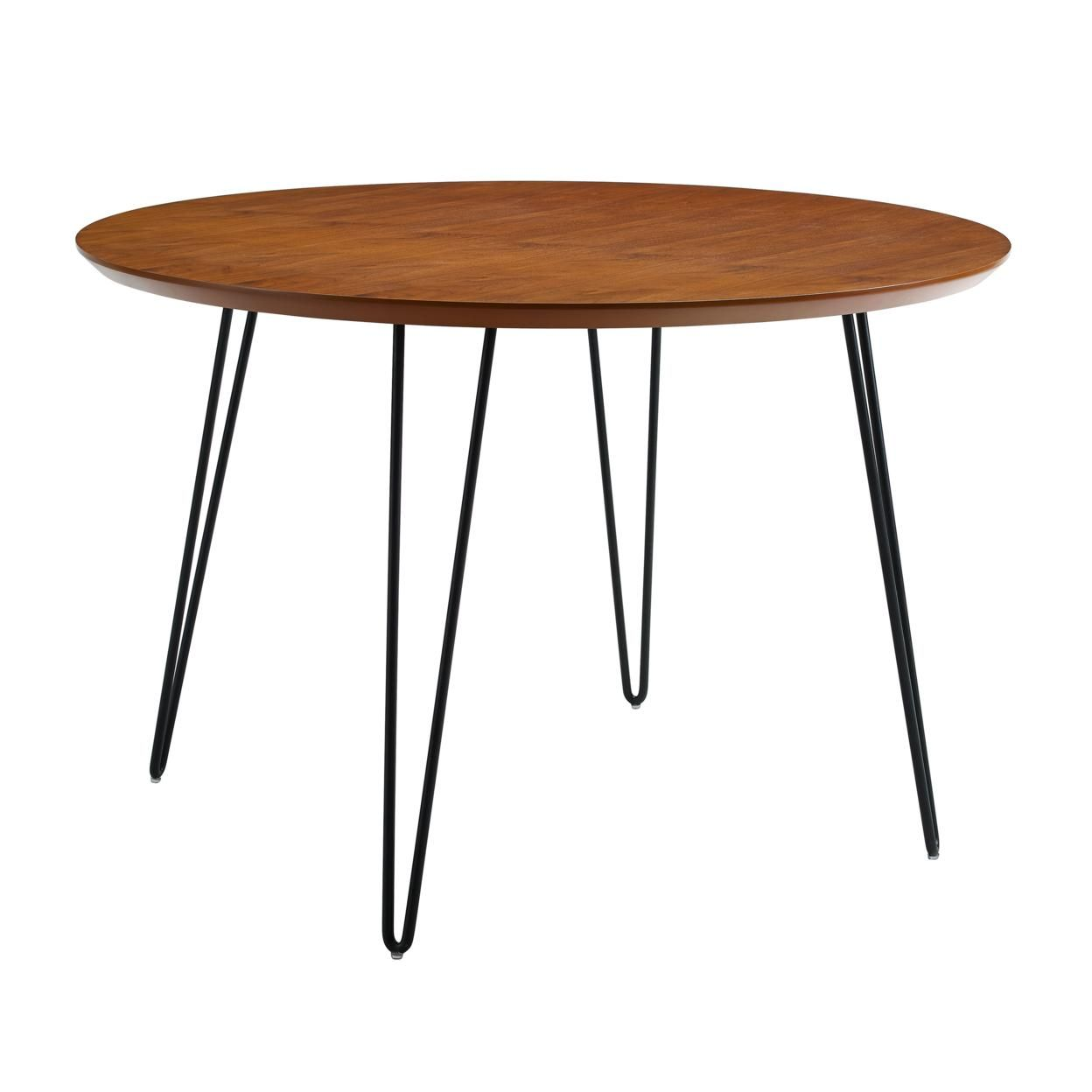 "46"" Round Hairpin Leg Dining Table - Walnut ��� ��� ��� ��� ���"