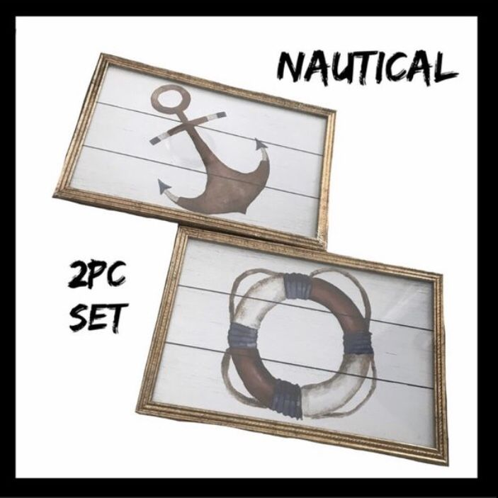 NIB Nautical 2Pc Wall Art Set